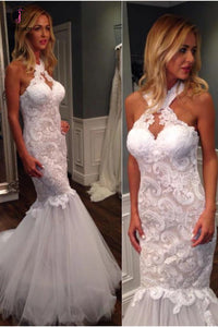 Mermaid Halter Sleeveless Tulle Wedding Dress with Lace Appliques,Long Bridal Dresses KPW0214