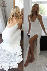 Spaghetti Straps Lace Wedding Dress with Side Slit, Ivory Long Backless Split Bridal Dresses KPW0215