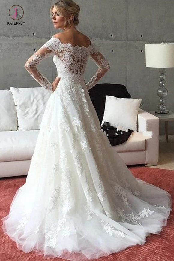 A Line Off the Shoulder Long Sleeves Sweep Train Wedding Dress with Lace Appliques KPW0217