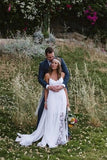 Simple Boho Spaghetti Straps Wedding Dress, Cheap Long Lace Beach Wedding Gown KPW0222