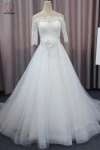 A Line 3/4 Sleeves Tulle Wedding Dress with Flowers, Fluffy Off Shoulder Bridal Dress with Lace KPW0223