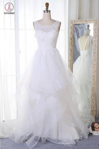 A Line Sleeveless Tulle Wedding Dress, Cheap Beach Wedding Dress, Bridal Dress KPW0227