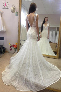 Deep V Neck Sleeveless Mermaid Lace Wedding Gown With Deep V Back, Long Lace Bridal Dress KPW0230