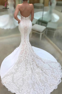 Strapless V-neck Mermaid Court Train Appliques Lace Wedding Dresses KPW0231