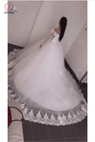 Ball Gown Long Sleeve Wedding Dress with Lace, Off the Shoulder Tulle Bridal Dress KPW0232