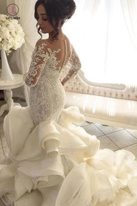 Gorgeous Long Sleeve Ivory Appliques Ruffles Wedding Gowns, Mermaid Bridal Dress KPW0235