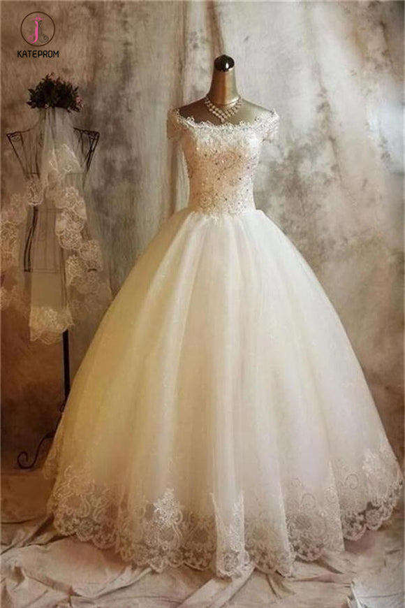 Ivory Off Shoulder Tulle Puffy Wedding Dress with Short Sleeve, Floor Length Bridal Dress KPW0242