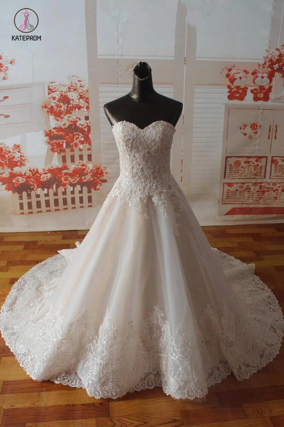 Gorgeous Sweetheart Tulle Wedding Dress with Lace Appliques, Strapless Bridal Dress KPW0246