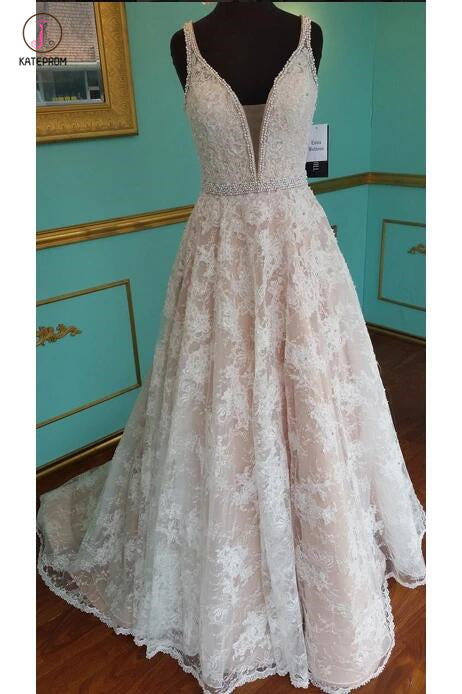 A Line Lace Wedding Dress with Beading, Strap V Neck Bridal Dress with Beading Waist KPW0247