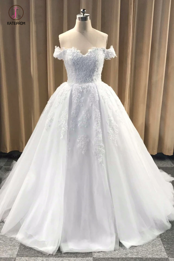 Puffy Off Shoulder Tulle Wedding Dress, Cheap Appliqued Bridal Dress with Train KPW0249