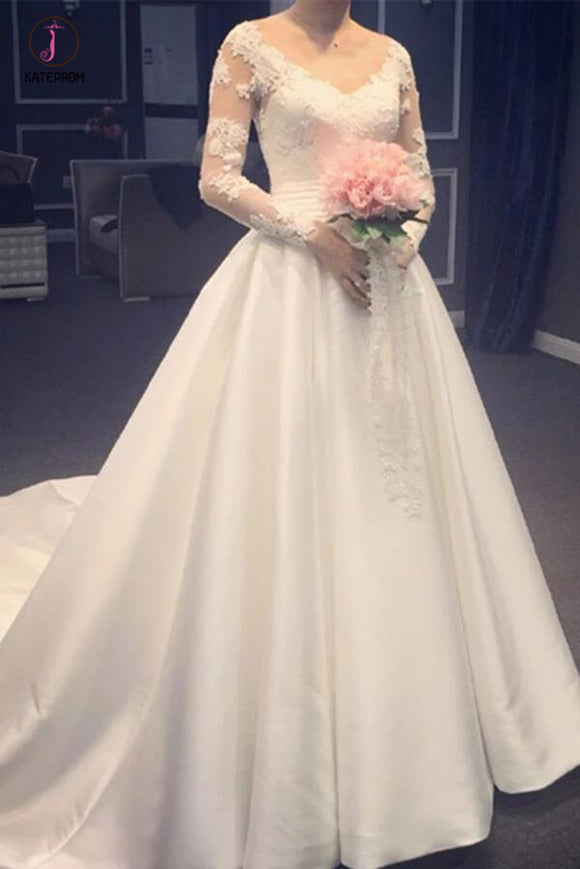Elegant A Line V-Neck Appliques Long Sleeves Wedding Dress With Chapel Train KPW0254