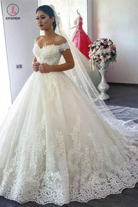 New Off The Shoulder Ivory Tulle Wedding Dresses With Applique Sweep Train KPW0260