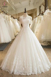 Floor Length Puffy Wedding Dresses Off-the-shoulder Ball Gown Lace Ivory Bridal Gown KPW0262