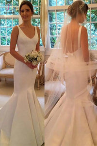 Newest Mermaid V-neck Sleeveless Simple Backless Wedding Dresses With Train KPW0264