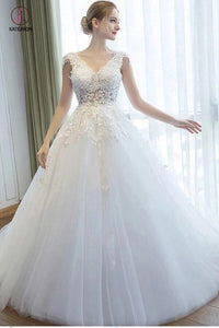 Ball Gown V Neck Tulle Court Train Appliques Lace Backless Cap Sleeve Bridal Dresses KPW0267