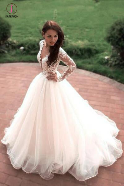 Boho Puffy Tulle Bridal Dress with Lace, Long Sleeves Sheer Neck Ivory Wedding Dress KPW0270