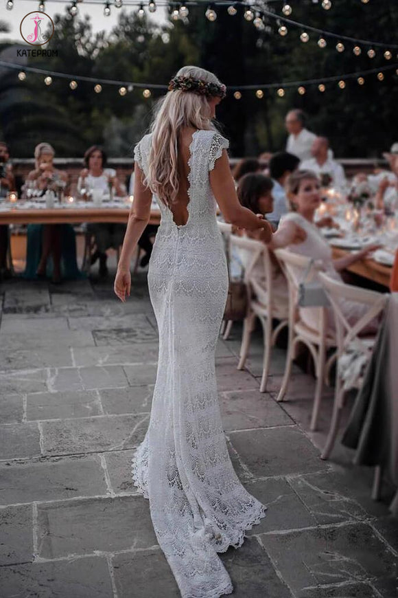 Boho Mermaid Lace Beach Wedding Dresses Cap Sleeve Bohemian Bridal Gown KPW0275