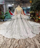 See Through Bodice Big Wedding Dresses with Flowers Long Sleeve Quinceanera Dress KPW0276