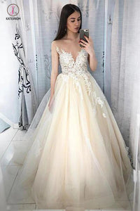 Lace Appliqued Tulle Long A-line Prom Dresses, Sheer Neck Wedding Dresses KPW0280