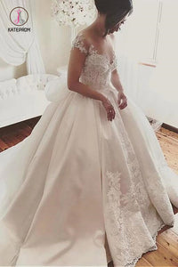 Fascinating Satin Sheer Neckline Ball Gown Wedding Dress With Appliques Bowknot KPW0298