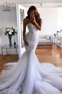 White Mermaid Sweetheart Sweep Train Tulle Lace Appliqued Wedding Dresses KPW0303
