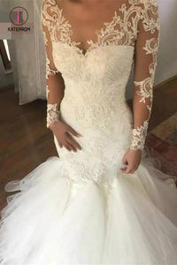 Mermaid Wedding Dress with Long Sleeves, V Neck Long Bridal Dress with Lace Appliques KPW0304