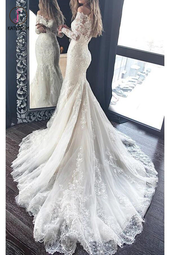 Gorgeous Mermaid Wedding Dress with Long Sleeves, Lace Bridal Dress with Long Train KPW0308