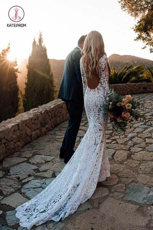 Long Sleeve Lace Wedding Dress, V Neck Boho Wedding Dresses, Beach Wedding Gown KPW0310