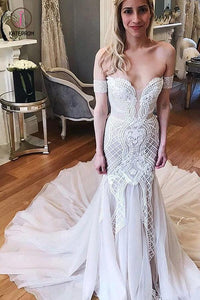 Gorgeous Mermaid Off-the-Shoulder Chapel Train Ivory Tulle Wedding Dress Appliques KPW0314