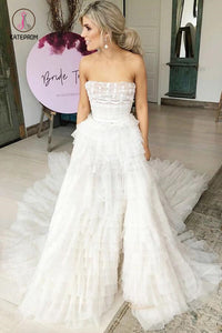A-Line Strapless Tiered Court Train Ivory Tulle Wedding Dress, Beach Wedding Dress KPW0315