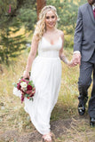 A Line V Neck Spaghetti Strap Wedding Dresses, Beach Wedding Dresses with Lace Top KPW0316