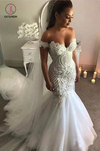 Vintage Off the Shoulder Mermaid Wedding Dress with Appliques, Tulle Bridal Dresses KPW0318