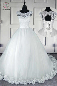 Ball Gown Long Wedding Dresses, Gorgeous White Tulle Lace Wedding Gown KPW0324