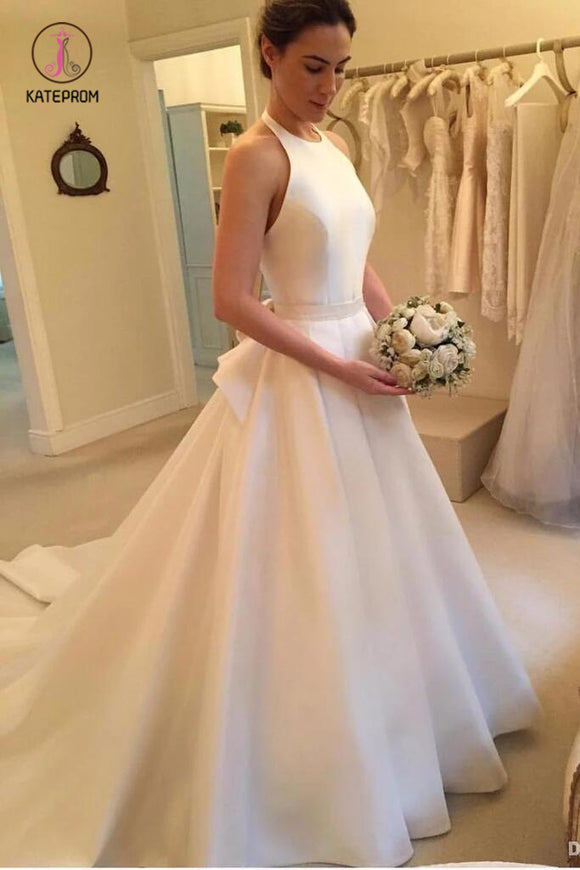 A Line Halter Satin Wedding Dress, Simple Backless Sleeveless Bridal Dress with Bow KPW0326