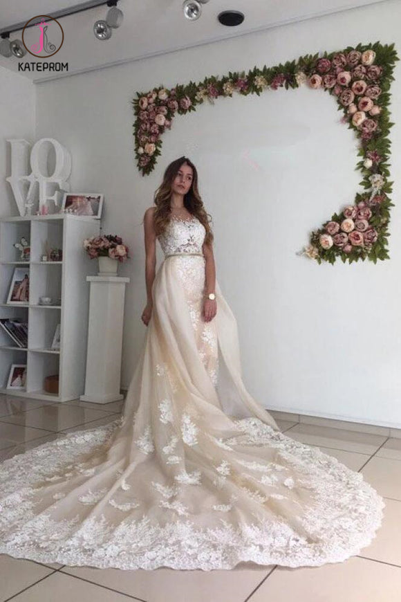 Gorgeous Wedding Dress with Lace, Long Wedding Dresses with Detachable Train KPW0329