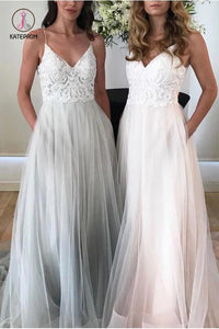 Spaghetti Strap Beach Wedding Dress, V Neck Tulle Long Prom Dress with Lace KPW0331