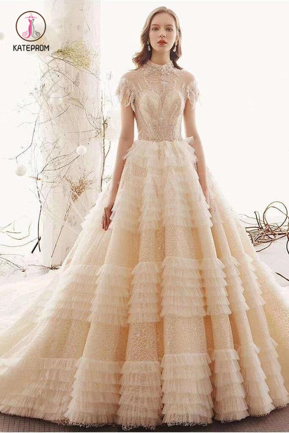 Unique High Neck Wedding Dress, Princess Short Sleeves Lace Tulle Wedding Gown KPW0333
