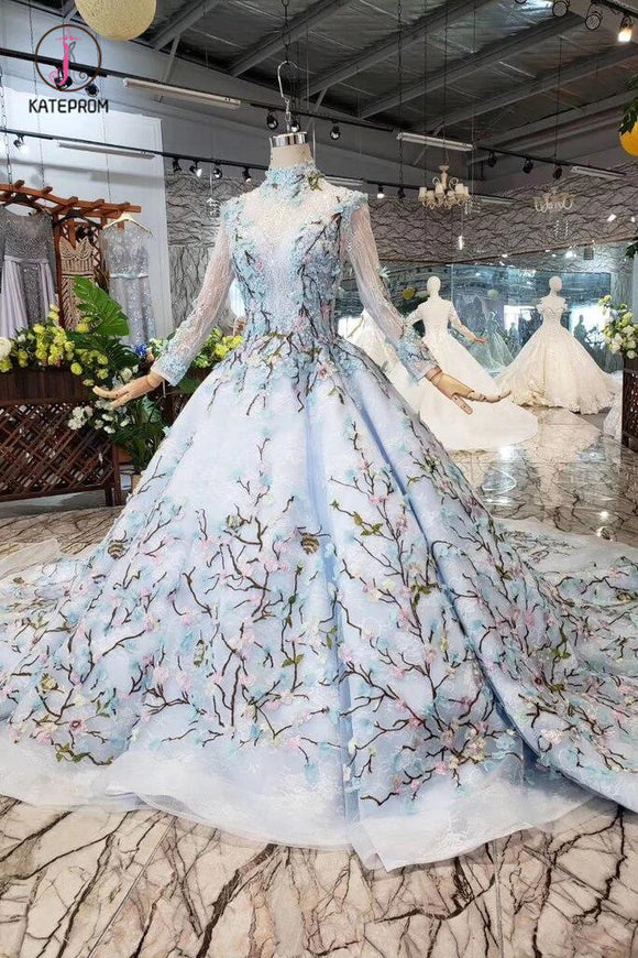 Light Blue Ball Gown Wedding Dresses with Lace Flowers, Beading Quinceanera Dresses KPW0334