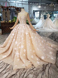 Princess Long Sleeves Ball Gown Wedding Dresses, Puffy Wedding Gown with Beads KPW0336