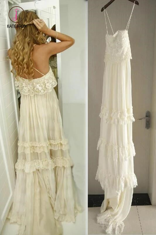 Vintage Hippie Style Boho Beach Wedding Dresses Spaghetti Straps Tiered Lace Chiffon Dress KPW0338