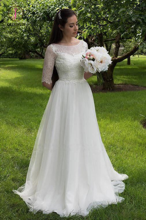 Lace Bodice Wedding Dresses with Half Sleeves, A Line Tulle Cheap Bridal Gowns KPW0339