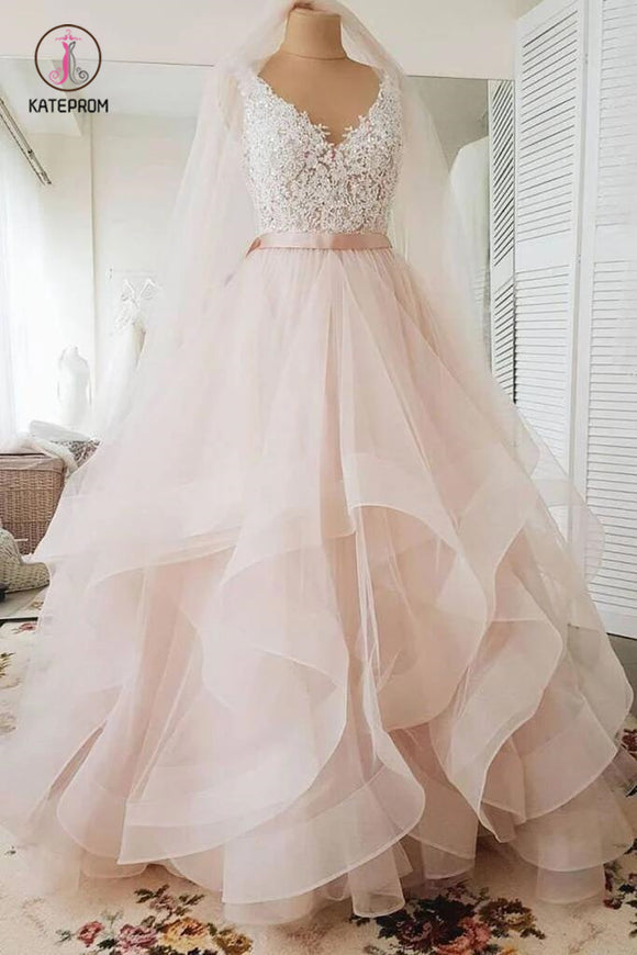 Blush Pink Lace Wedding Dresses Multi-Layered Wedding Gowns with Ribbon KPW0340