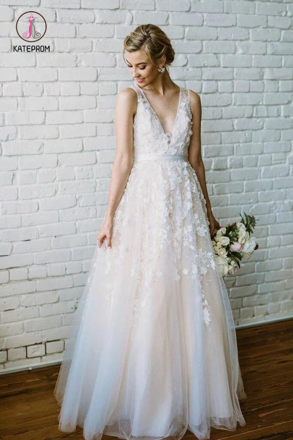 Floor Length V Neck Lace Applique Beach Wedding Dress, Puffy Tulle Wedding Gown KPW0344