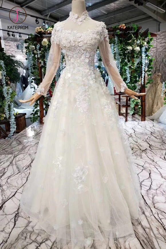 A Line High Neck Wedding Dresses with Flowers, Long Sleeves Bridal Dresses KPW0345