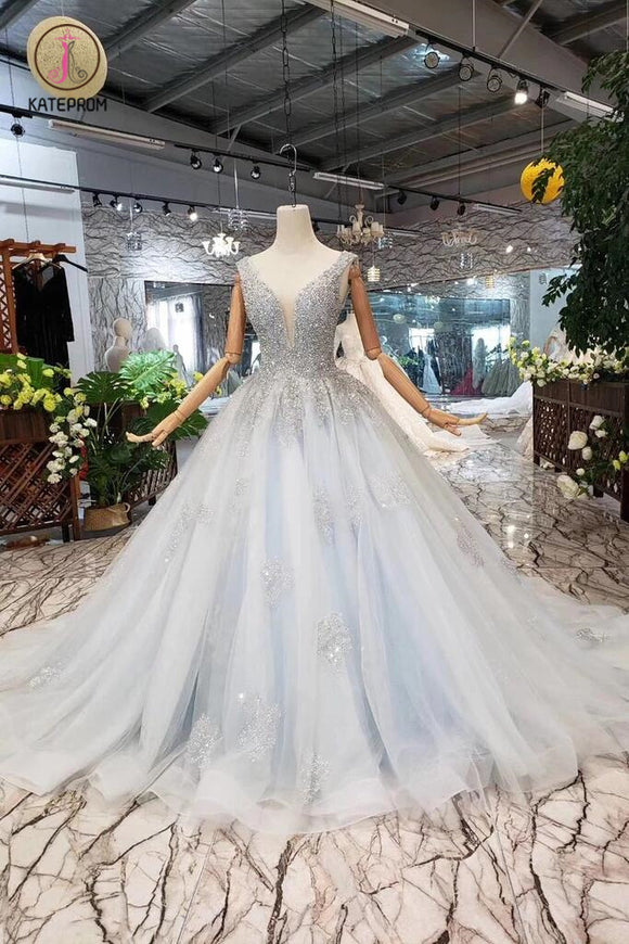 Ball Gown Deep V Neck Sleeveless Tulle Wedding Dress with Beading, Prom Dresses KPW0351