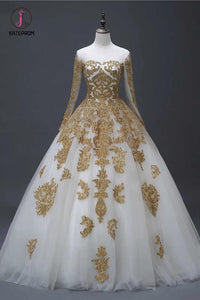 Gold Appliques Puffy Sheer Neck Long Wedding Dresses, Long Sleeves Tulle Bridal Dress KPW0355