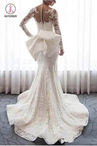 Gorgeous Lace Wedding Dress with Long Sleeves, Bowknot Mermaid Bridal Dresses KPW0359