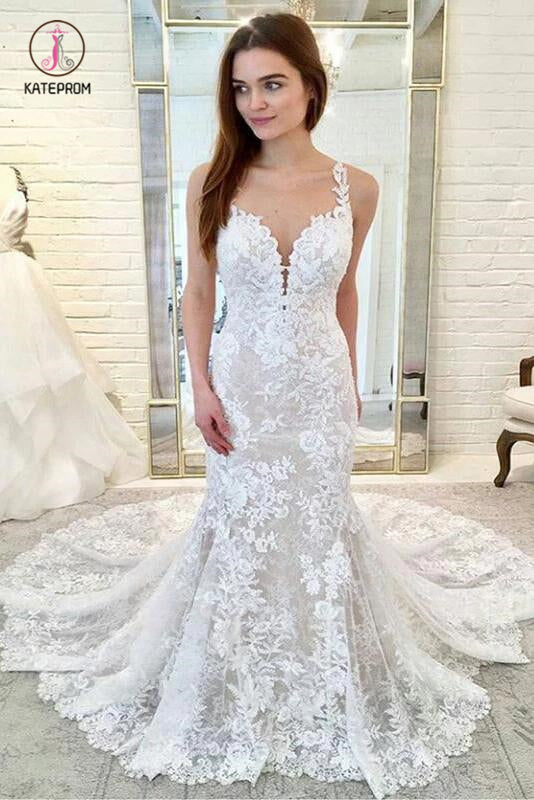 Gorgeous Straps Mermaid Train Lace Wedding Dresses, Lace Bridal Dresses KPW0364