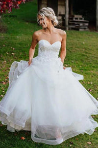 Charming Sweetheart Tulle Wedding Dresses, Puffy Backless Beach Wedding Gown KPW0365