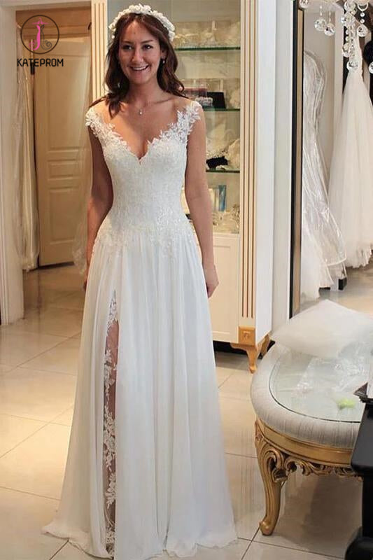 A Line Chiffon Beach Wedding Dress with Lace, Long Flowy Bridal Dress with Lace KPW0366